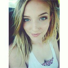 Casual makeup, boho girl  Blonde, green eyes, nose ring