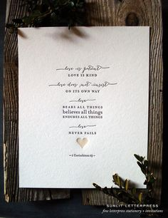 "Letterpress Wedding Art Print  ""Love Is""  – Corinthians Bible Verse, Quote - Love Never Fails, Corinthians 1:13 Christian Gift 8"" x 10"""