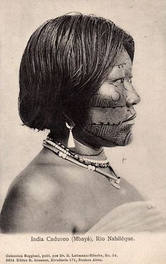 "Argentina   ""India Caduveo (Mbayà) - Rio Nabiléque, Chaco""   Vintage postcard; publisher R. Rosaner."