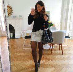 Mimi Ikonn | Sequined skirt with black knit sweater, black tights, black Melissa heels, & black Stella McCartney Fabella shoulder bag | OOTD