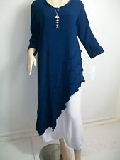 """Reduced~""""Imagine"""" ~ cotton~ diagonal with frill long tunic/dress sizes 12-20"""