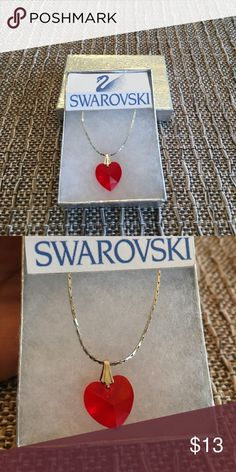 "Beautiful Swarovski heart necklace!❤️ Beautiful heart necklace to give as a gift or keep for yourself! The pendant is approx 3/4"" including the silver clasp. Comes with beautiful silver tone 17"" chain. I don't see a 925 stamp, it was a gift. Very pretty! ❤️❤️❤️❤️❤️❤️❤️❤️ Swarovski Jewelry Necklaces"