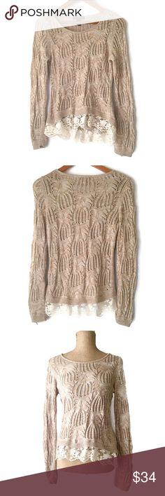 "NWT INC Pointelle Long Sleeve Lace Trim Sweater New with tags, pointelle tan marled sweater with lace hem.  60% Cotton 40% Rayon  Machine Wash  Flat Measurements:  Shoulders - 13.5"", Bust - 16"", waist - 15.5"", Length - 26"", Sleeve Length - 27"" INC International Concepts Sweaters Crew & Scoop Necks"