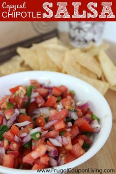 Copycat Chipotle Pico de Gallo Reicpe. Easy salsa recipe perfect for your gathering. More Chipotle Copycat Recipes on Frugal Coupon Living.
