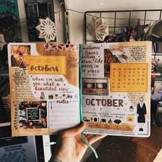Friday Finds: Pink Bullet Journal Theme - The Petite PlannerPink Bullet Journal Monthly Setupmonthly spread woohoo ! all yellow and brown colors love 🧡💛✰ BuJo . all yellow and brown colors Bullet Journal Notebook, Bullet Journal Ideas Pages, Bullet Journal Spread, Bullet Journal Inspiration, Bullet Journals, Junk Journal, Notebook Collage, Bullet Journal October, Art Journals