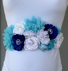 Light Blue Baby Blue Royal Blue and White Silk and Chiffon