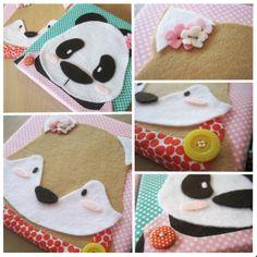 Juffrouw Panda en mevrouwtje Vos - canvas met vilt, vrolijke stofjes en knoopjes.