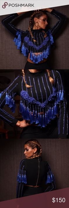 Amelia handmade Luxury top collection Limited edition handmade top. Made from high quality  bandage fabric with tassels. Model wearing size S. Fashion Miami Styles Tops Crop Tops
