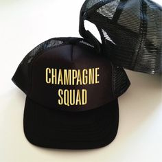 Champagne Squad Trucker Hat. Bachelorette Party Hats. Hen Party Hats. Brunch Hat. Champagne Hat. Snapback Trucker Cap. Squad Hat by SoPinkUK on Etsy