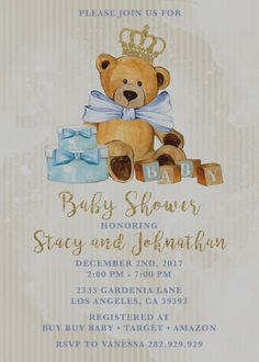 royal teddy bear baby shower invitations