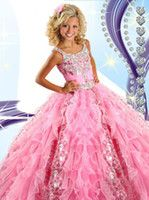Reference Images Girl Ruffle 2015 Pink Girl's Pageant Dresses Princess Ruffle Beaded Sequins Tiered Organza Girl's Formal Dresses RG6454