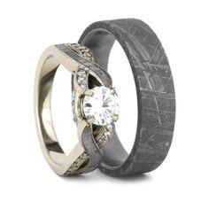Meteorite Wedding Ring Set, Moissanite Engagement Ring And Men's Band-2301