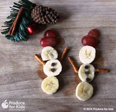 Get into the holiday spirit with this fruity snowman snack! It's a fun festive addition to your holiday menu and kids will love to assemble their own snowmen