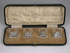 Set 4 Cased George VI Silver Menu Holders 'Scottish Castles' by Edward & Sons, Glasgow at Steppes Hill Farm Antiques, in Sittingbourne, England. George Edwards, Menu Holders, Scottish Castles, George Vi, Vintage Dishes, Antique Art, Glasgow, Sons, Antiques