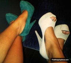 green and white heels  The Shopping Fans