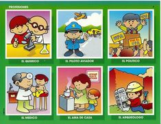 Vocabulario en imágenes. Maestra de Infantil y Primaria.: Juego de las profesiones. Tarjetas con poemas. Worksheets For Kids, Education, Comics, Drawings, Herb, Gardens, Games, Model, World