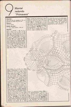 "#153 Mantel Redondo ""Primavera"" a Crochet o Ganchillo"