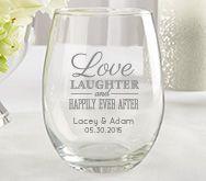 personalized 15 oz stemless wine glass wedding