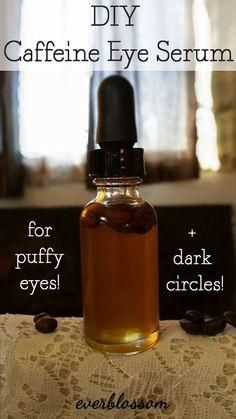 Caffeine to the rescue! This DIY caffeine eye serum depuffs tired eyes and diminishes dark circles.