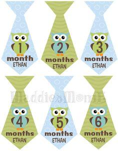 SALE Baby Boy Owl Tie Monthly Onesie Stickers  by MaddiesMomE, $7.99