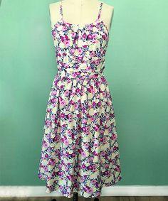 Pink & Yellow Floral Fit & Flare Dress #zulily #zulilyfinds