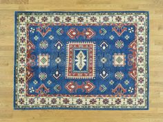 Handmade Geometric Design Kazak Pure Wool Blue Oriental Rug- Product:5-1-x7-Handmade-Geometric-Design-Kazak-Pure-Wool-Blue-Oriental-Rug-Sh31440