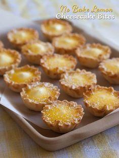 No Bake Lemon Cheesecake Bites. An easy-to-make easy-to-eat bite-sizeversion of a luscious lemon cheesecake.