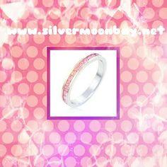 White Gold &Pink Swarovski Crystal Channel Set www.silvermoonbay.net #Pink #Swarovski #sparkle