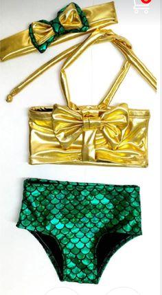 d7be0bda9727 Gold Bow Mermaid Two Piece Swimsuit Baby Girl Swimwear
