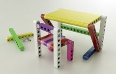 Lego fans will love this. Take a look at Olla, Lego-inspired furniture kits to build yourself. Diy Furniture Kits, Lego Furniture, Modular Furniture, Furniture Design, Painted Furniture, Bedroom Furniture, Giant Lego Blocks, Indoor Forts, Modern Outdoor Sofas