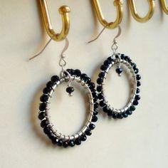 Black Onyx Earrings Hoop Earrings Silver Jewelry by cdjali on Etsy, $18.00