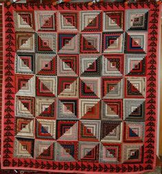 Museum Quality Vintage 1890's Log Cabin Antique Quilt Flying Geese Border | eBay