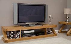 Z solid oak designer furniture large widescreen TV cabinet stand unit