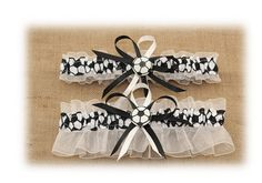 White Wedding Garter Set with Soccer Deco by StarBridal on Etsy