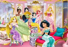Disney Princesses - Enchanted Room Featuring: Snow White Aurora Ariel Jasmine Mulan [EXCLUSIVE] Tiana [EXCLUSIVE] Rapunzel ©Disney -- All the characters, and images are original from Disney©, I onl...