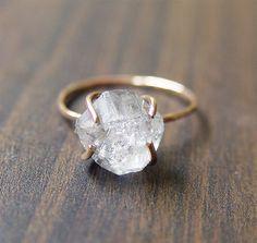 SALE Herkimer Diamond GF Ring van friedasophie op Etsy