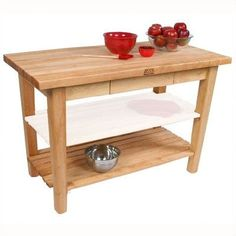 "John Boos BoosBlock Prep Table Size: 48"" W x 30"" D, Casters: Included, Drawers: Not Included, Towel Rack: Not Included"