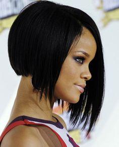 Rihanna short hair styles have become truly iconic! Bob Haircut Black Hair, Black Girl Bob Hairstyles, Modern Bob Hairstyles, Rihanna Hairstyles, Haircuts For Fine Hair, Cool Hairstyles, Short Haircuts, Pinterest Hairstyles, Hipster Hairstyles