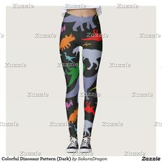 Colorful Dinosaur Pattern (Dark) Leggings