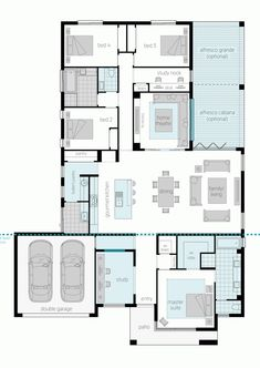 The luxurious Broadbeach design offer two separate wings of sumptuous accommodation and a huge central living area. Take a look at the house plans now. Family House Plans, New House Plans, Dream House Plans, House Floor Plans, My Dream Home, Split Level House Plans, Mcdonald Jones Homes, House Ideas, Container House Design