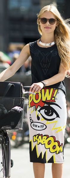 Street style. Love the graphic arts skirt.