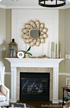 LOVE the planked wall above the fireplace! LOVE the planked wall above the fireplace! Above Fireplace Decor, Family Room Fireplace, Bedroom Fireplace, Fireplace Remodel, Fireplace Mantle, Fireplace Decorations, Fireplace Makeovers, Mantle Ideas, Teen Room Makeover