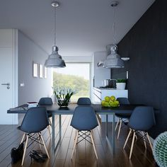 Textured Navy and Wood Apartment- industrial pendant lit dining with wood and steel framed chairs