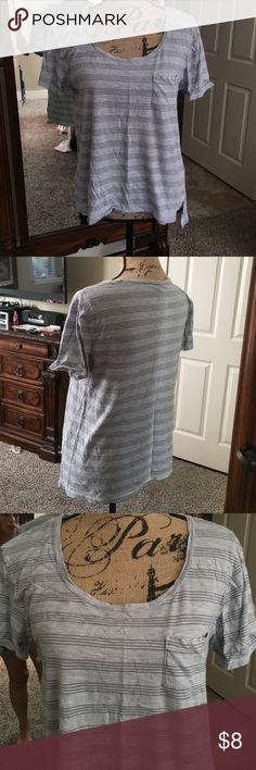 Gray tshirt From Gap, gray with white fine stripes pocket tshirt GAP Tops Tees - Short Sleeve