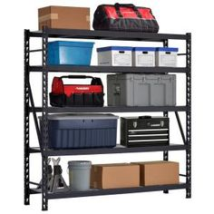 Husky 90 in. W x 90 in. H x 24 in. D Welded Steel Garage Storage Shelving Unit with Wire Deck in Black - - The Home Depot Garage Shelving Units, Steel Shelving Unit, Shelving Racks, Wire Shelving, Adjustable Shelving, Basement Storage, Metal Shelves, Home Depot, Garage Storage Solutions