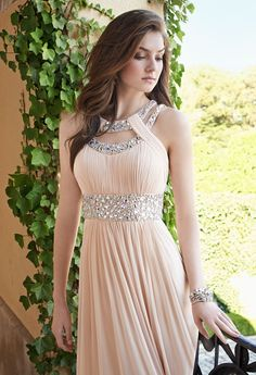2016 A-Line Halter Sleeveless Empire Zipper Prom Floor-Length Chiffon Champagne New Arrival Prom Dresses