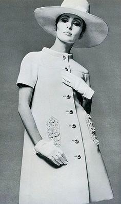 Alberta Tiburzi in white wool embroidered coat-dress by Valentino, 1968