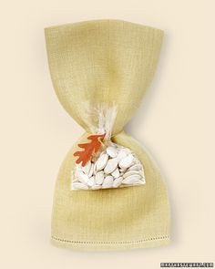 napkin rolls with pumpkin seed favors diy