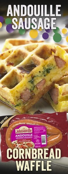 Johnsonville's Andouille stuffed cornbread waffle is a sweet and savory treat just right for the Mardi Gras recipe spread. Enjoy it at breakfast, or any time of the day with a kick of a sweet maple syrup and a smoky chipotle finish. Breakfast Dishes, Breakfast Recipes, Cornbread Waffles, Waffle Maker Recipes, Brunch Recipes, Brunch Ideas, Love Food, The Best, Food And Drink