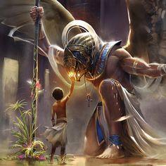 ArtStation - HORUS illustration - Age of Pantheons, Gianluca Rolli Egyptian Mythology, Egyptian Art, Egyptian Jewelry, Egyptian Costume, Egyptian Goddess, Dark Fantasy Art, Fantasy Artwork, Egypt Concept Art, Ancient Egypt Art